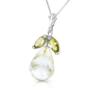 NECKLACE WITH NATURAL PERIDOTS & WHITE TOPAZ